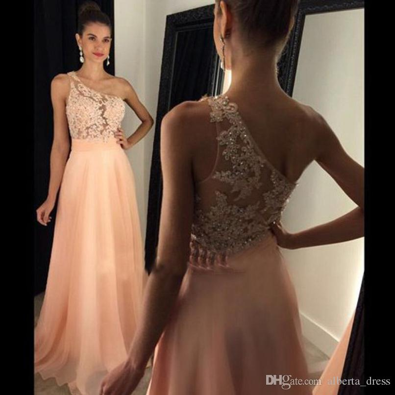 2017 New Cheap Peach Prom Dresses One Shoulder Lace Appliques Beads Illusion Long Custom Made Chiffon Formal Pageant Gowns Party Dress