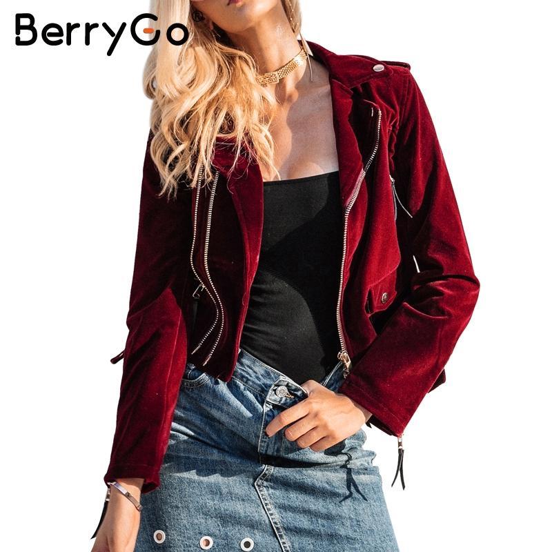 الجملة- Berrygo سستة المخملية سترة معطف المرأة بدوره أسفل النساء سترة دراجة نارية 2017 الأزياء بارد الشتاء سترة النساء سترة الأساسية