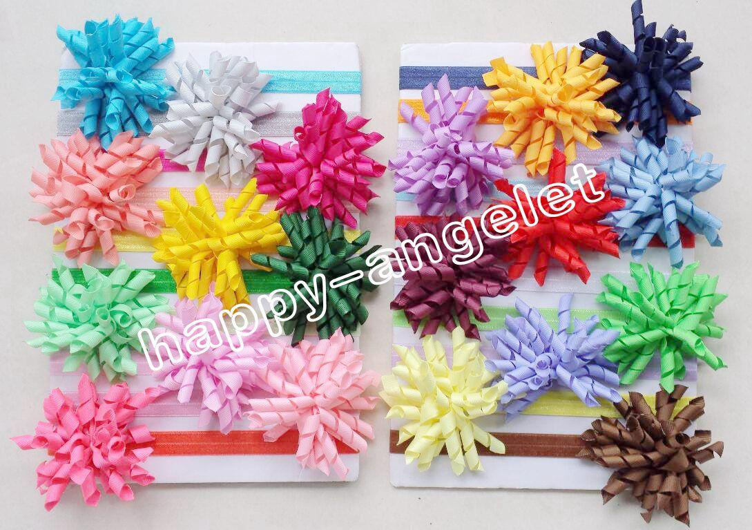Girl Boutique Solid Korker curly Ribbon Hair clips bows Elastic Iridescent headband baby corker hair bands Christening hair ties 20pcs PD01