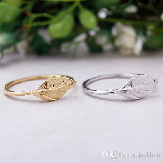 10PCS- R031 Gold Silver Simple Nature Leaf Ring Cute Olive Maple Plant Tree Leaf Ring Feather Ring Vine Rings for Ladies Women