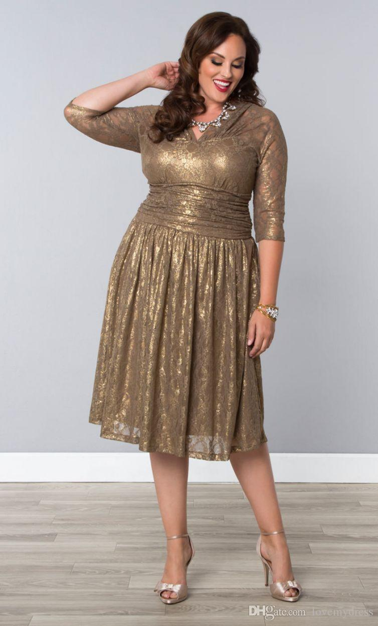 Cheap Gold Lace Plus Size Special Occasion Dresses Sheer Sleeves Tea Length  Elegant Shining Champagne Prom Evening Gowns With V Neck Canada 2019 From  ...