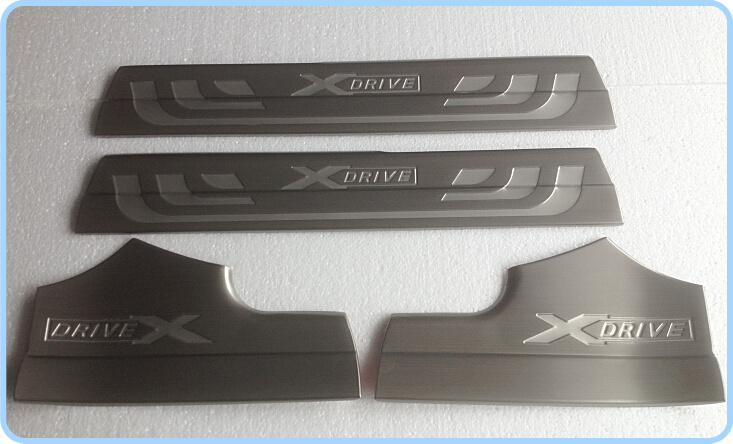 送料無料!高品質のステンレス鋼4ピースインナードアシルのフットプレート、ドアシルスカッフプレート、BMW X3のためのしきい値保護バー