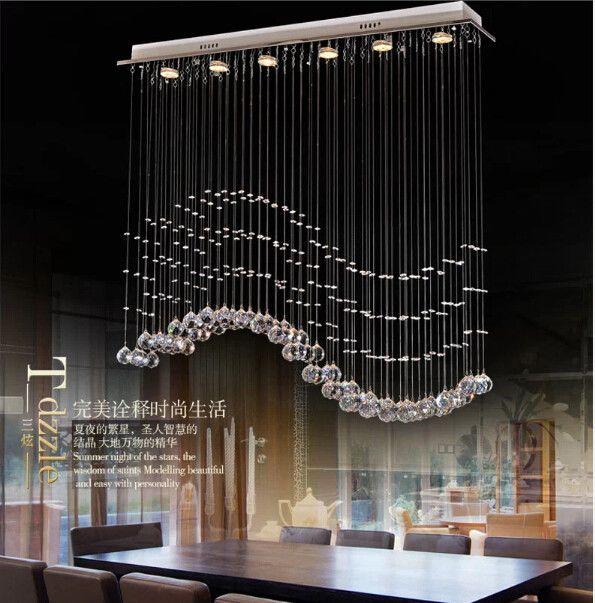 Modern Design Led Curtain Wave K9 Luxury Crystal Ceiling ...