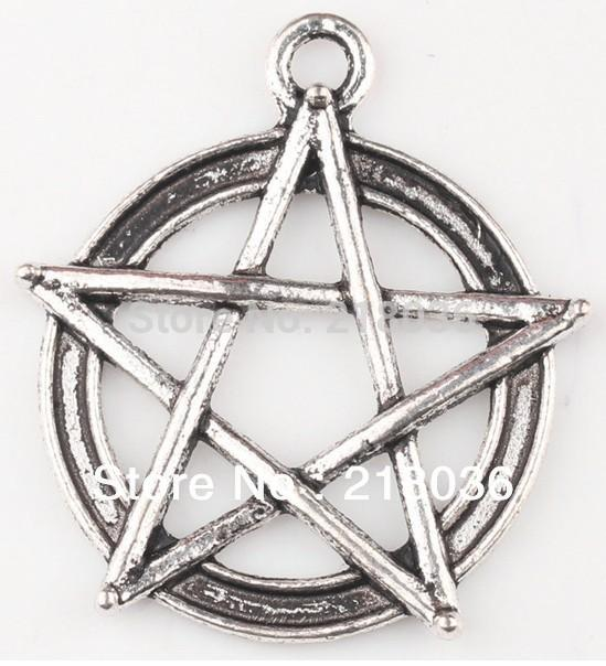 Fashion Vintage Tibetan Silver Pentagram Gothic Wicca Paga Alloy Charm Pendant For Bracelet Jewelry Findings Girls Bijoux M789