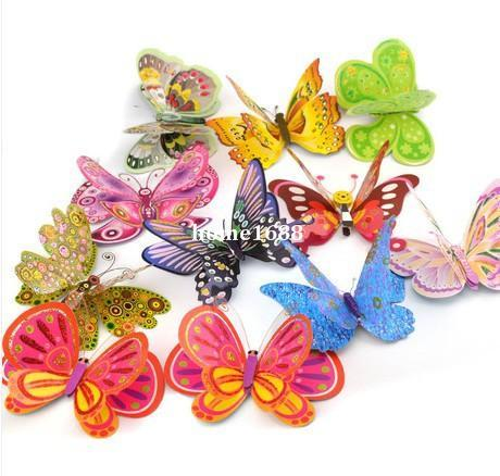 Free-shipping 3D Three-dimensional Cartoon Artificial Flower Butterfly Children Bedroom Wall Stickers Home Curtain Decoration