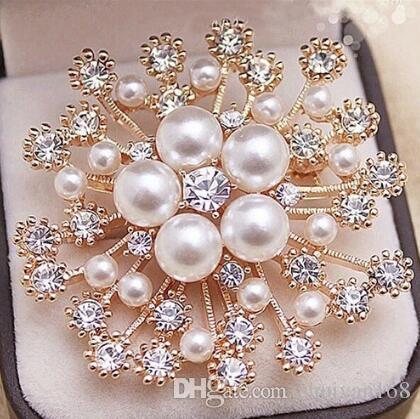 5 Color Perla Cristales Oro Copo de nieve Broche de Lujo Diamante Checo Mujeres Hijab Desgaste Broches Prendedores Joyería de Moda