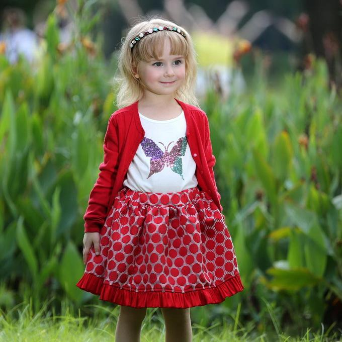 Pettigirl Retail New Arrival Girls Christmas A-Line Skirts 100% Cotton Red Dot Baby Kids Clothing (Only Skirt) ST80715-20W