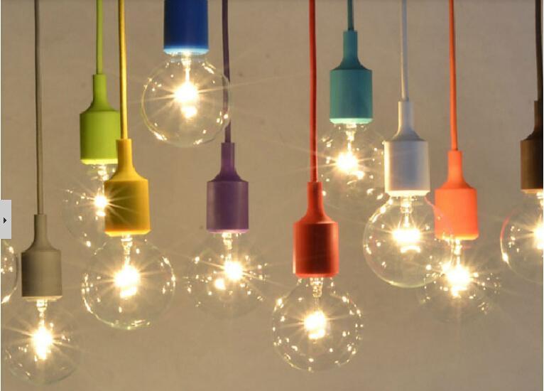 Pendant Lights Vintage Edison Creative DIY Droplight Rainbow Pendant Lamp Colourful Home Decoration Lighting Free Shipping