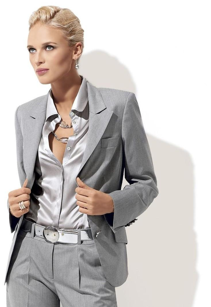 Cheap Custom Fashion Grey Women Tuxedos Peaked Lapel Suits For ...