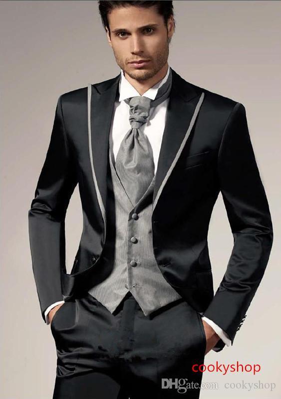 وسيم تصميم جديد جودة عالية زرين العريس البدلات الرسمية الذروة التلبيب زفاف الرجال بدلة العريس الدعاوى (سترة + سروال + سترة)