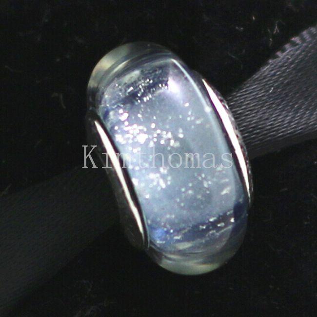 Granos sueltos Hecho a mano Lampwork Plata de ley 925 Cinderella 's Fluorescencia Cristal de murano Charm Bead Fits European Pandora Jewelry Bracelets
