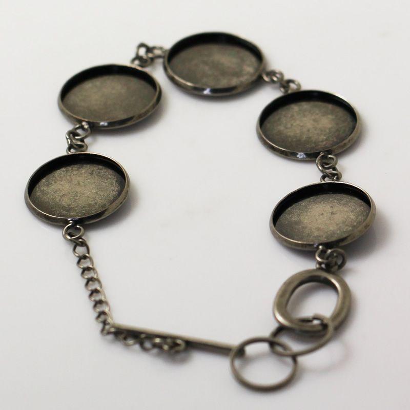 Beadsnice bracelet blanks lot bracelet pendants picture bracelet round blank base setting bezel base for 18mm round cabochons ID 12146