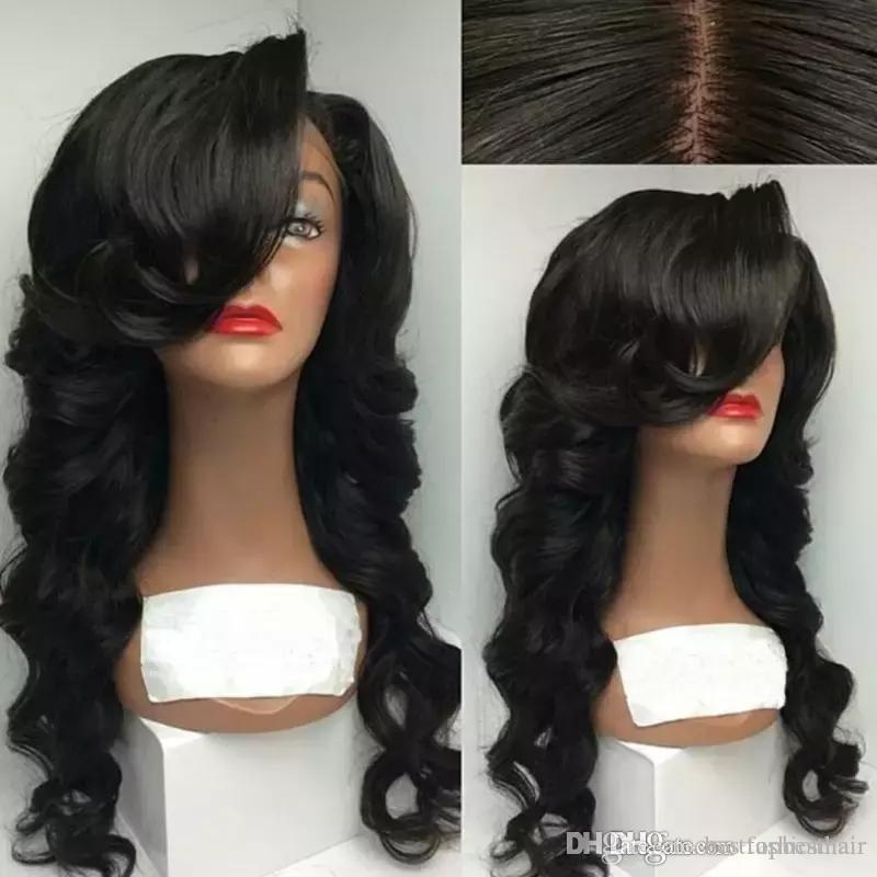 Best Human Full Lace Wigs With Side Bangs Wavy Glueless Lace Front Wigs Baby Hair Brazilian Bang Wigs Human Hair Wavy Wig