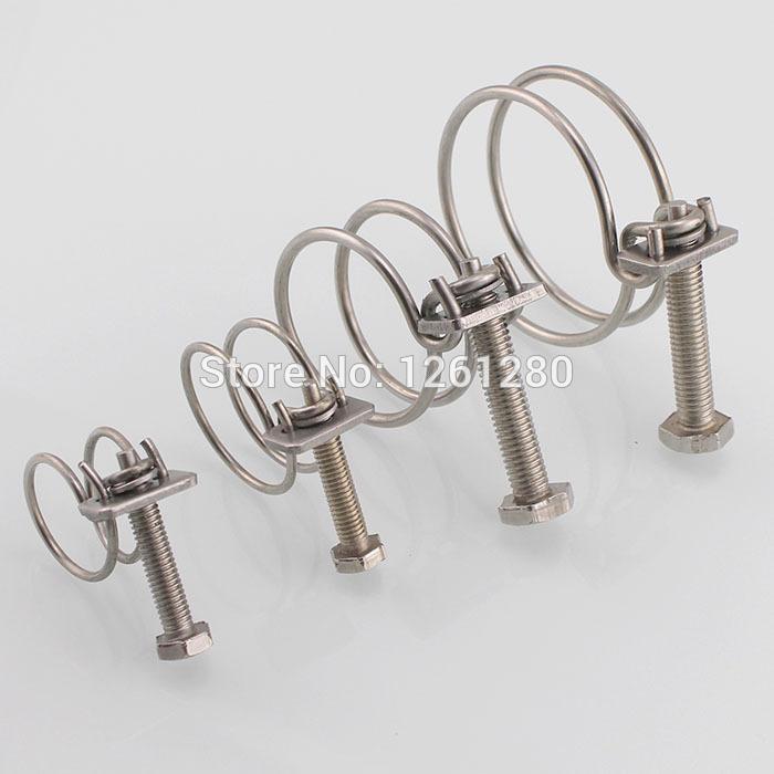 Ücretsiz kargo 20 * 2 paslanmaz çelik hortum kelepçesi çift tel montaj hoop kelepçe boru kelepçesi fabrika Mühendislik raptiye donanım