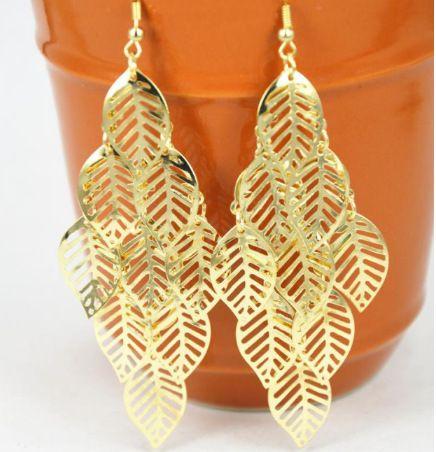925 посеребренные серьги женщин ретро серебро или золото покрытием сплава мульти-лист серьги Богемный стиль длинные кисточкой серьги