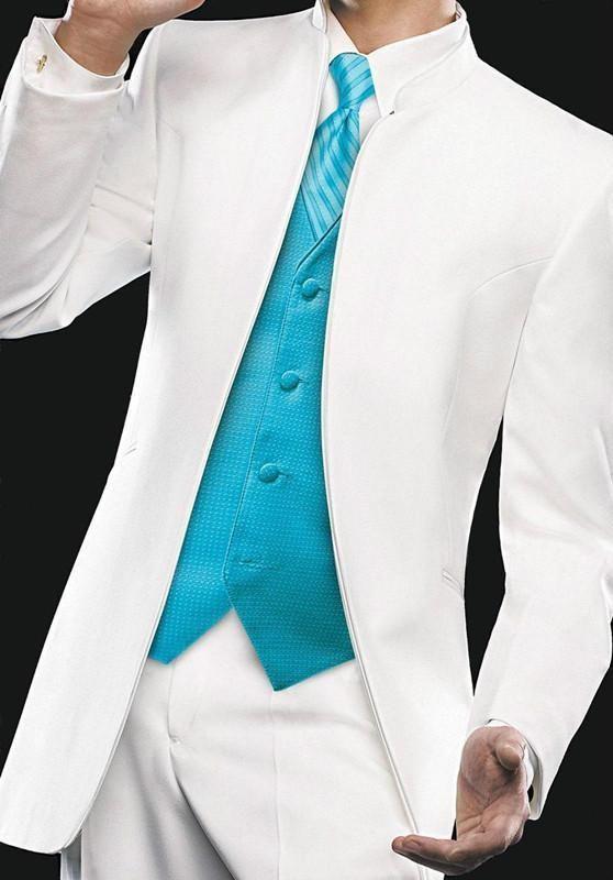 No Button Slim Fit Tuxedos For Men Handsome Mens Wedding Tuxedo Mens Suits Custom Made Grooms White Jacket Suit (Jacket+Pants+Vest+Tie)