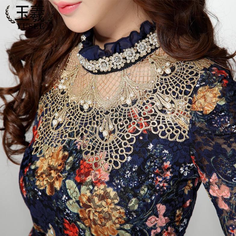 f48e99302da349 Fashion Women's Lace shirt Blouses long-sleeve Hollow Out Floral Tops Slim  Elegant Beaded Gauze Chiffon Shirts XXXL Plus Size