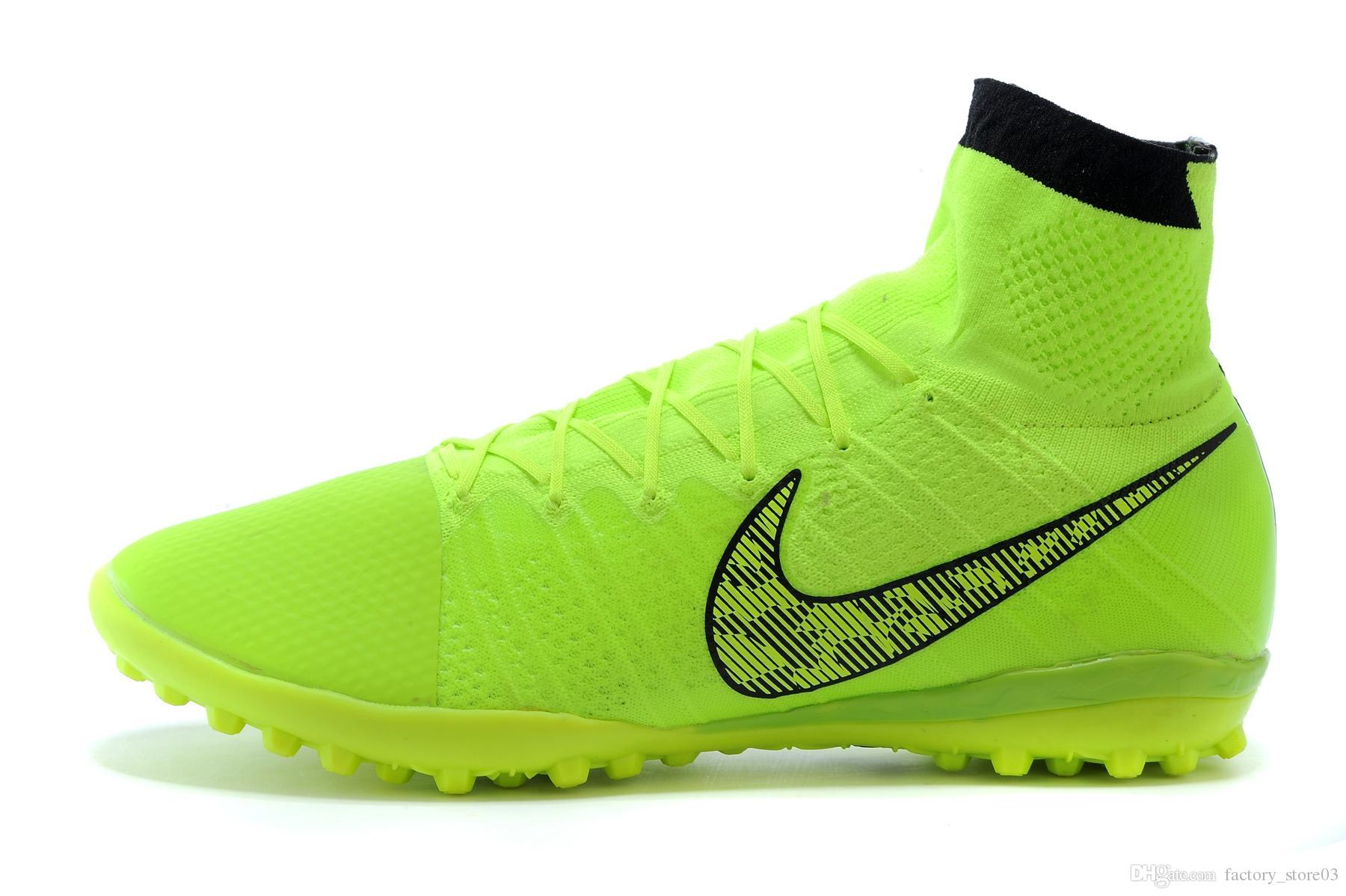 Mens Soccer Boots High Cut Mens Soccer Shoes Nike Elastico Superfly OEM factory made in china Volt/White/Black/Flash Lime size39-45