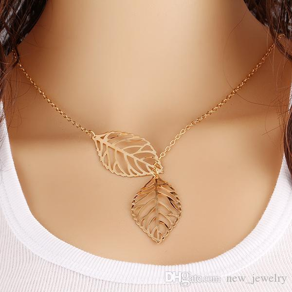 New arrival High quality 2 colors gold and silver alloy hollow necklace double leaf clavicle chain choker jewelry for women