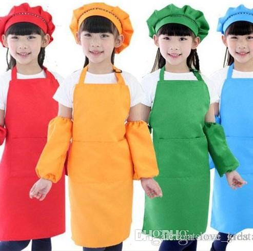 10 colores niños delantales de bolsillo scarft cocina para hornear arte pintura niños cocina comedor babero fuentes de cocina envío gratis