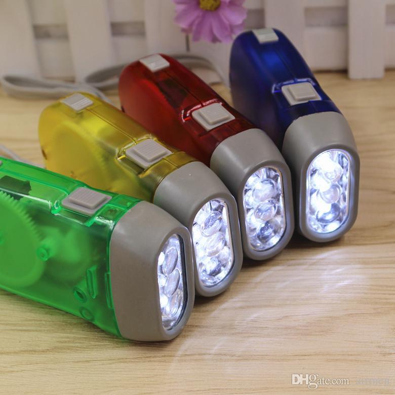 Outdoor 3 LED Hand Press Flashlight No Battery Wind Up Crank Dynamo Flashlight Light Torch Camping Portable Flash Light Wholesale