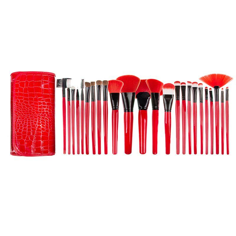 24pcs Crocodile Pattern Bag Red Makeup Brush Set Tools Foundation Toiletry Make Up Cosmetic Powder Blending Brush Professional