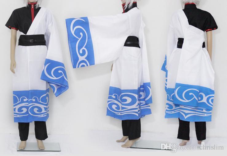 8dddb1090 Japanese Anime Gintama Cosplay Ginchan cosplay Costume  Cloak+Top+Pants+Waist Band+Belt per Set Gintama Silver Soul Sakata Gintoki  Costume