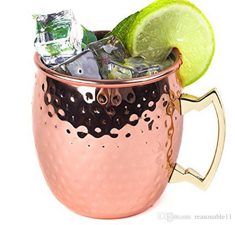 Moscow Mule Mug Copper Mug Stainless Steel Beer Cup Rose Gold Hammered Copper Plated Drinkware Christmas gift