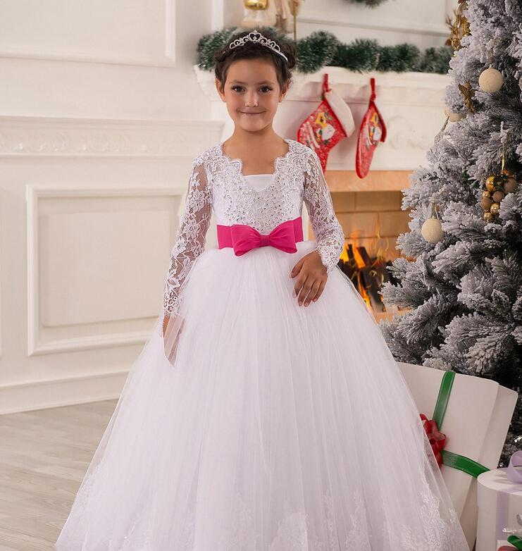 V-hals kralen lange mouwen sjerp netto baby meisje verjaardagsfeestje kerst prinses jurken kinderen meisje feestjurken bloem meisje jurken