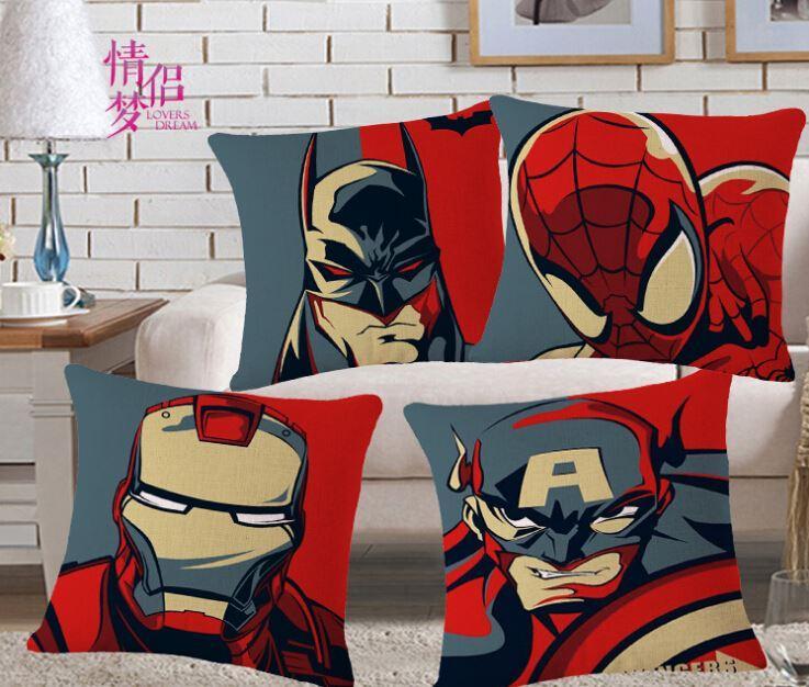 Batman pillowcase, super hero avenger spiderman iron man Captain America throw pillow case pillow cover wholesale