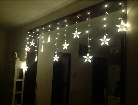 웨딩 장식 LED 조명의 플래시 램프 및 빛은 별 빛 커튼 3m * 0.65 m 12 PC 펜타곤을 의미합니다.