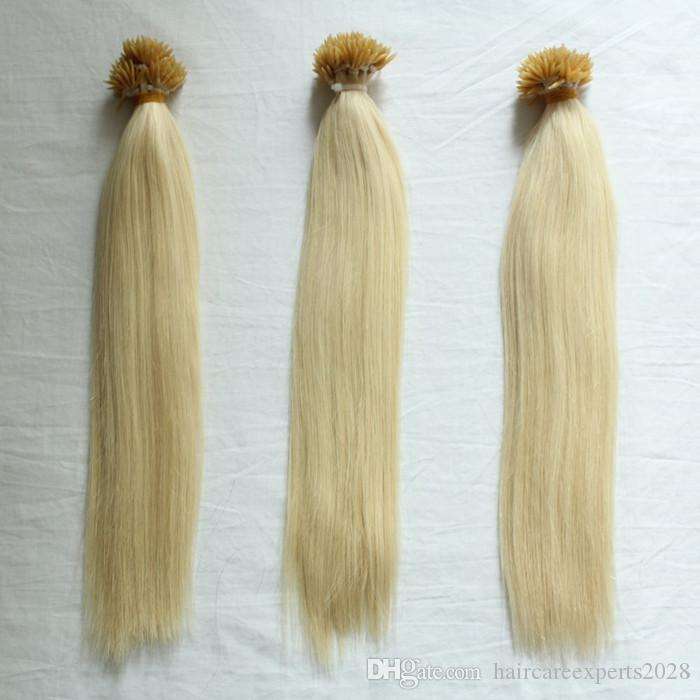 """HOT!!! 200s/pack 1g/s 14''- 24"""" Keratin Stick I Tip Human Hair Extensions Indian hair 60# platinum blonde dhl Fast shipping"""