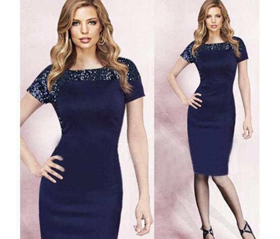 Navy Knee Length Dresses
