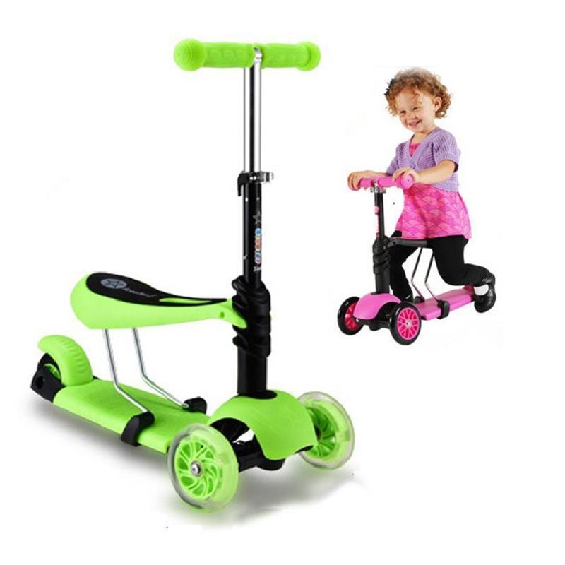 Kids Kick Scooter with Flashing 3-Wheel Toddler Walking Adjustable Push Scooter