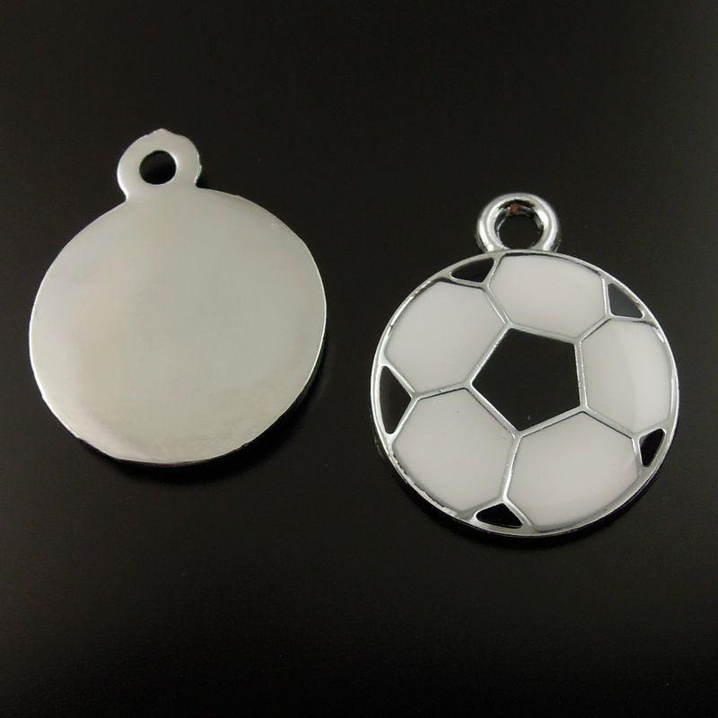 Nouvelle mode 20 pcs rhodium plaqué noir blanc Football Cartoon émail pendentif résultats charme 19 * 19 * 2 mm fabrication de bijoux, bricolage vente chaude