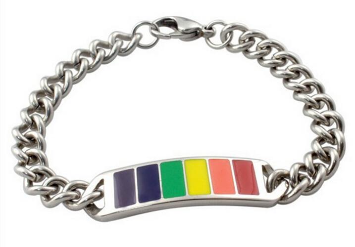 ゲイの金属のタグが付いているステンレス鋼のシルバーチャームブレスレット