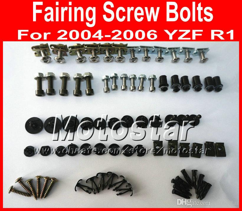 New professional Motorcycle Fairing screws bolt kit for YAMAHA 2004 2005 2006 YZFR1 YZF R1 04-06 black aftermarket fairings bolts screw set