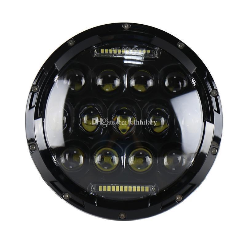"""75W 7 """"라운드 LED 자동차 헤드 라이트 전구 헤드 램프 라이트 램프 교체 수리 액세서리 지프 랭글러 헤일리 데이비슨 모토"""