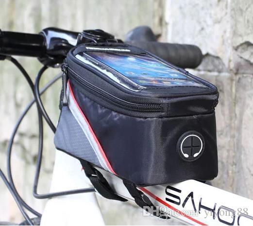 NOUVEAU 3 couleurs d'extérieur Faire du vélo Cadre Sac Tube avant vélo paquet punch Sacs pour téléphone portable PVC avec un casque Jack