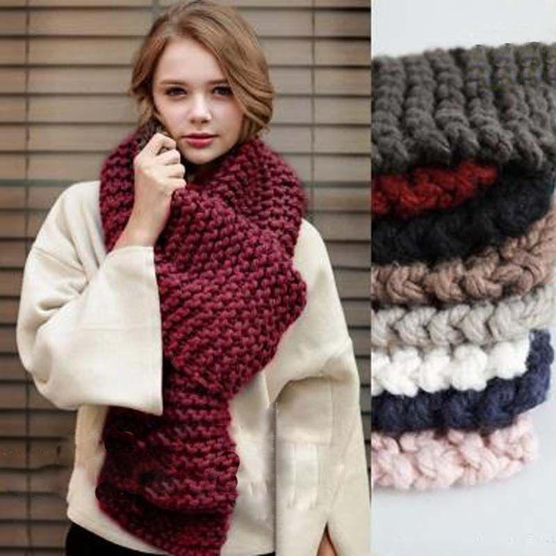 tienda de liquidación e0cb3 8bd32 Coreano de lana gruesa hecha a mano bufanda de ganchillo mujer invierno  espesar de punto largo estudiante pareja tejer unisex cálido cuello bufanda