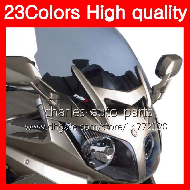 23Colores de la motocicleta parabrisas para YAMAHA FJR1300 01 02 03 04 05 2005 FJR 1300 2001 2002 2003 2004 2005 Chrome negro humo claro parabrisas