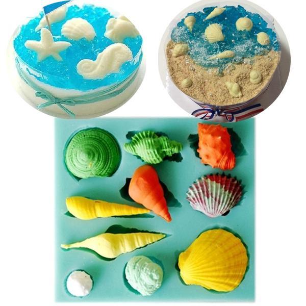 ракушка силиконовые помадной плесень мультфильм торт украшения инструменты выпечки инструменты торт топпер шоколад плесень
