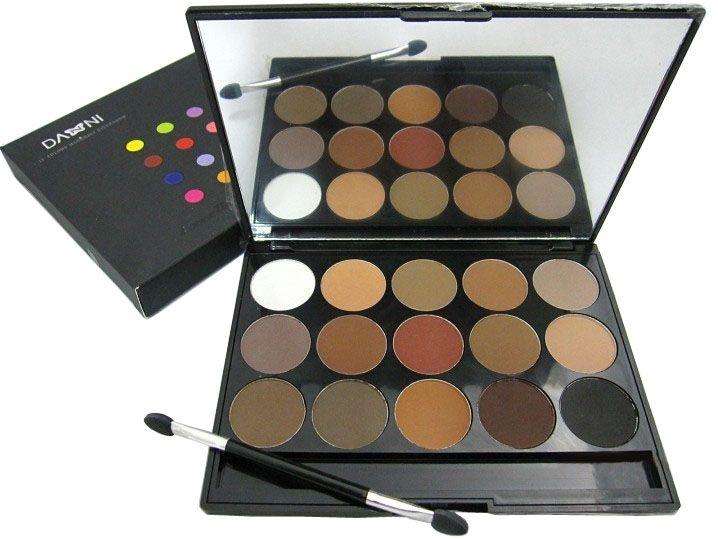 Earth Tone Eyeshadow Palette Nude/Naked Makeup kit matte eye shadow 15 Colors Shimmer eyeshadows with Sponge makeup brush