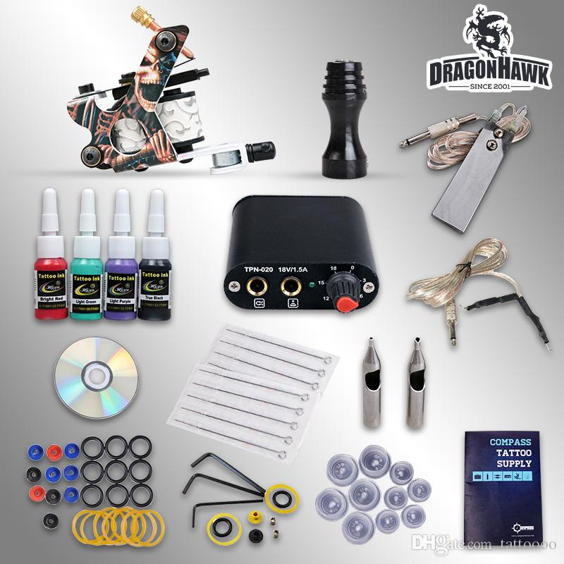 Beginner kit of tattoo complete machine guns 4 inks sets power supply disposable needles pedal grips tips free shipping D1025GD