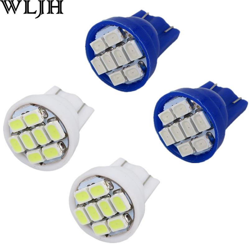 WLJH Car Interior Lighting T10 921 194 License Plate Light Bulbs 8 LED 168 T10 W5W Wedge Instrument Panel Light Bulbs