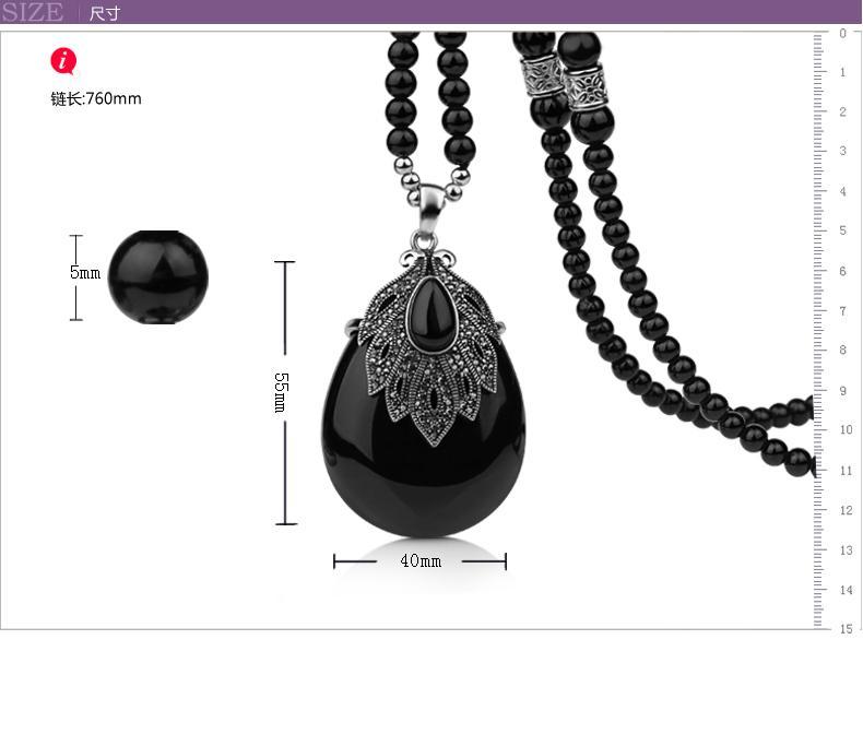 collana a goccia di cristallo nero (4 * 5,5 cm) collana da donna (56 + extra 6 cm) (woniu152)