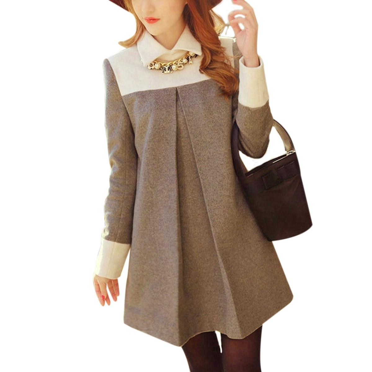 2015 Sonbahar Kadın Moda Yün Karışımı Elbise Bayanlar Zarif Uzun Kollu Peter Pan Yaka Patchwork Mini Bir Çizgi Elbiseler Vestidos FG1511