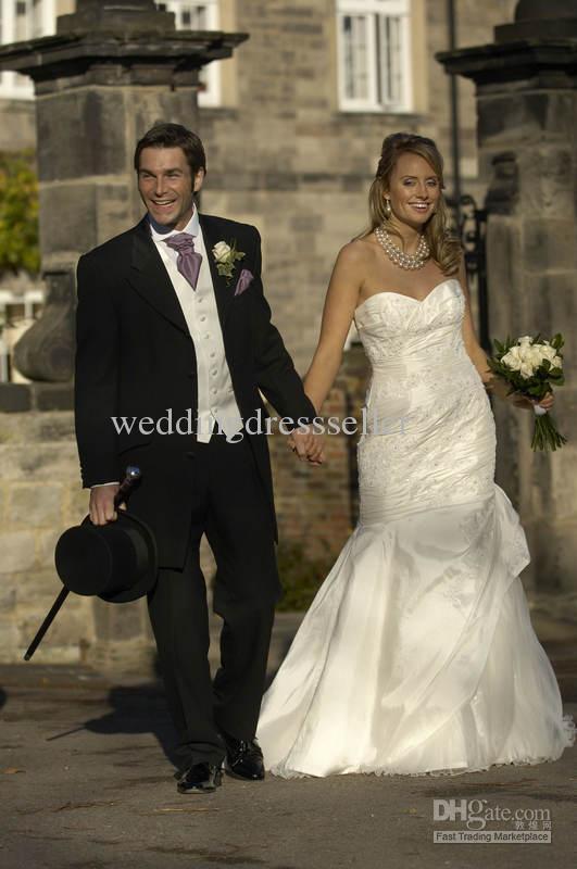 Custom Made black tuxedos white wedding suits for men Groom ...