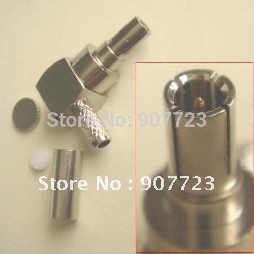 100 pcs CRC9 macho ângulo direito crimp RG174 RG188 adaptador conector RG316