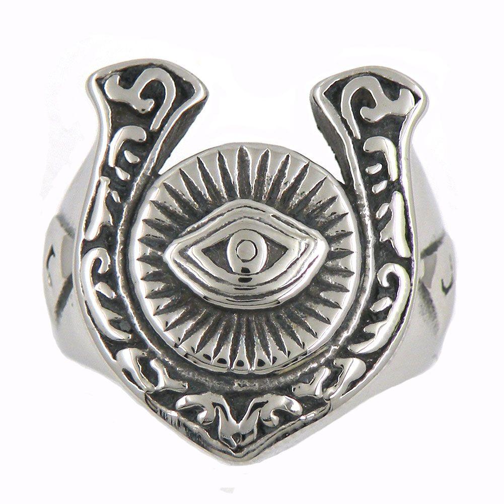 Por encargo de acero inoxidable para hombre o joyería wemens masonaria TRINGLEU forma sol triángulo todo lo que ve ojo anillo masónico 12W76